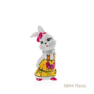Coniglio in porcellana, porcellata decorata - N844 Flavia