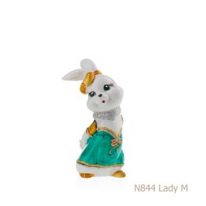 Coniglio in porcellana, porcellata decorata - N844 Lady M