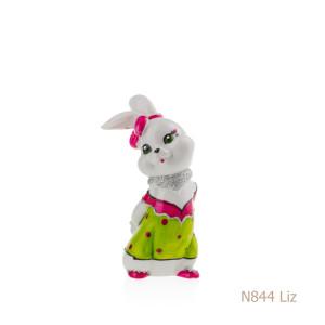 Coniglio in porcellana, porcellata decorata - N844 Liz