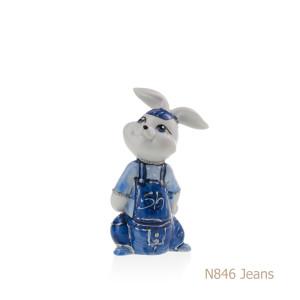 Coniglio in porcellana, porcellata decorata - N846 Jeans