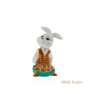Coniglio in porcellana, porcellata decorata - N846 Robin