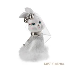 Coniglio in porcellana, porcellata decorata - N850 Giulietta