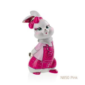 Coniglio in porcellana, porcellata decorata - N850 Pink
