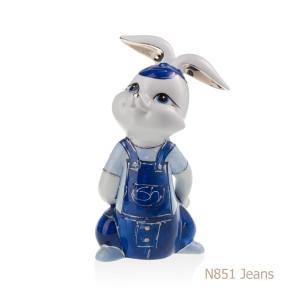 Coniglio in porcellana, porcellata decorata - N851 Jeans