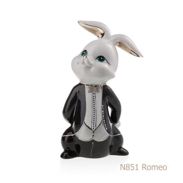 Coniglio in porcellana, porcellata decorata - N851 Romeo