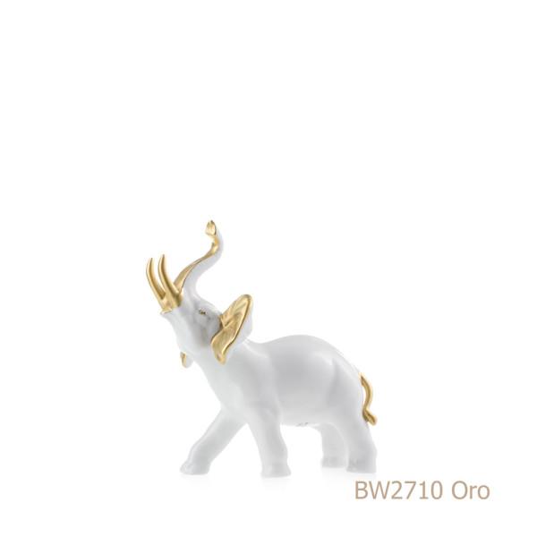 Elefante in porcellana, porcellata decorata - BW2710 Oro