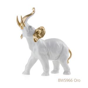 Elefante in porcellana, porcellata decorata BW5966 Oro