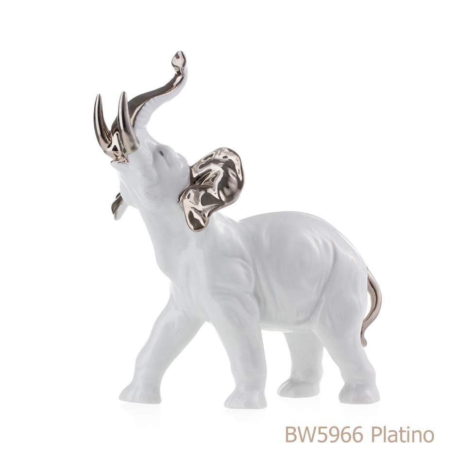 Elefante in porcellana, porcellata decorata BW5966 Platino