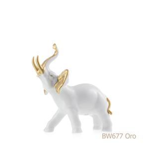 Elefante in porcellana, porcellata decorata BW677 Oro