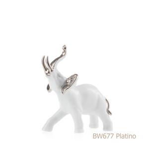 Elefante in porcellana, porcellata decorata - BW677 platino
