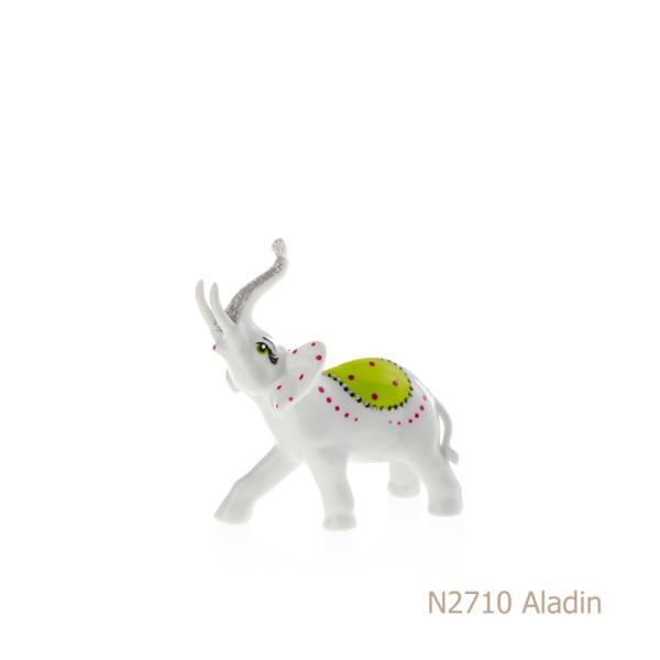 Elefante in porcellana, porcellata decorata - N2710 Aladin