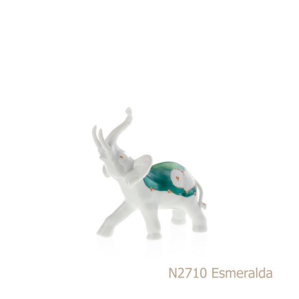 Elefante in porcellana, porcellata decorata - N2710 Esmeralda