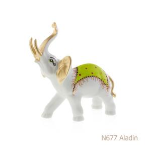 Elefante in porcellana, porcellata decorata - N677 Aladin