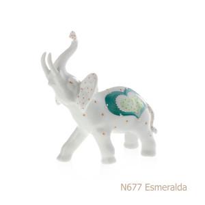 Elefante in porcellana, porcellata decorata - N677 Esmeralda