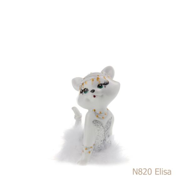 Gatto in porcellana, porcellata decorata - N820 Elisa