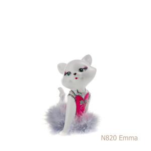Gatto in porcellana, porcellata decorata - N820 Emma