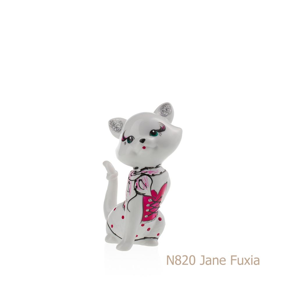 Gatto in porcellana, porcellata decorata - N820 Jane Fuxia