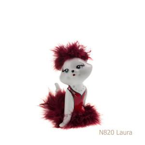 Gatto in porcellana, porcellata decorata - N820 Laura