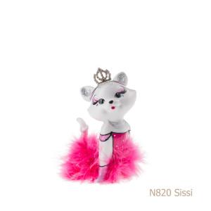 Gatto in porcellana, porcellata decorata - N820 Sissi