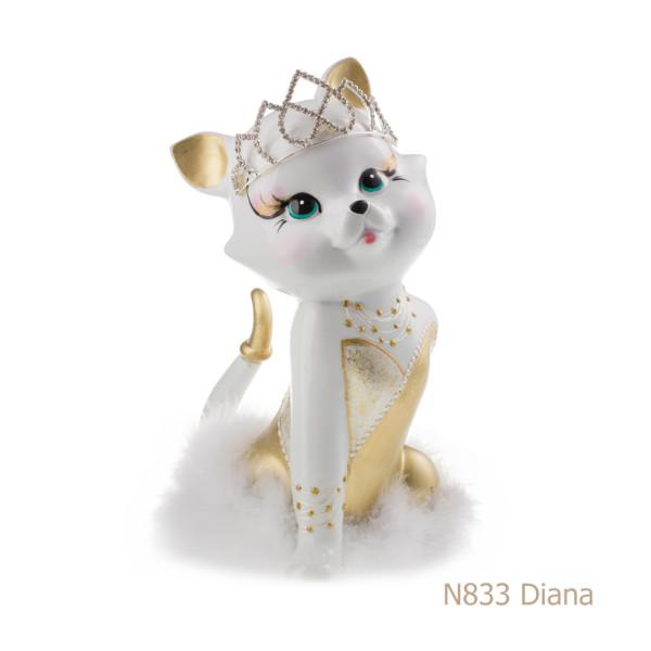 Gatto in porcellana, porcellata decorata - N833 Diana