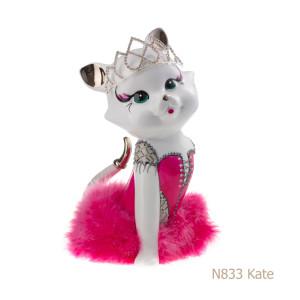 Gatto in porcellana, porcellata decorata - N833 Kate